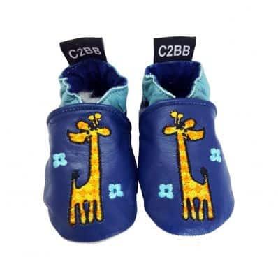 Chaussons en cuir souple GIRAFE C2BB - chaussons, chaussures, chaussettes pour bébé