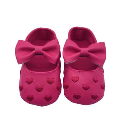 Chaussons COEUR ET NOEUD ROSES FLAMAND