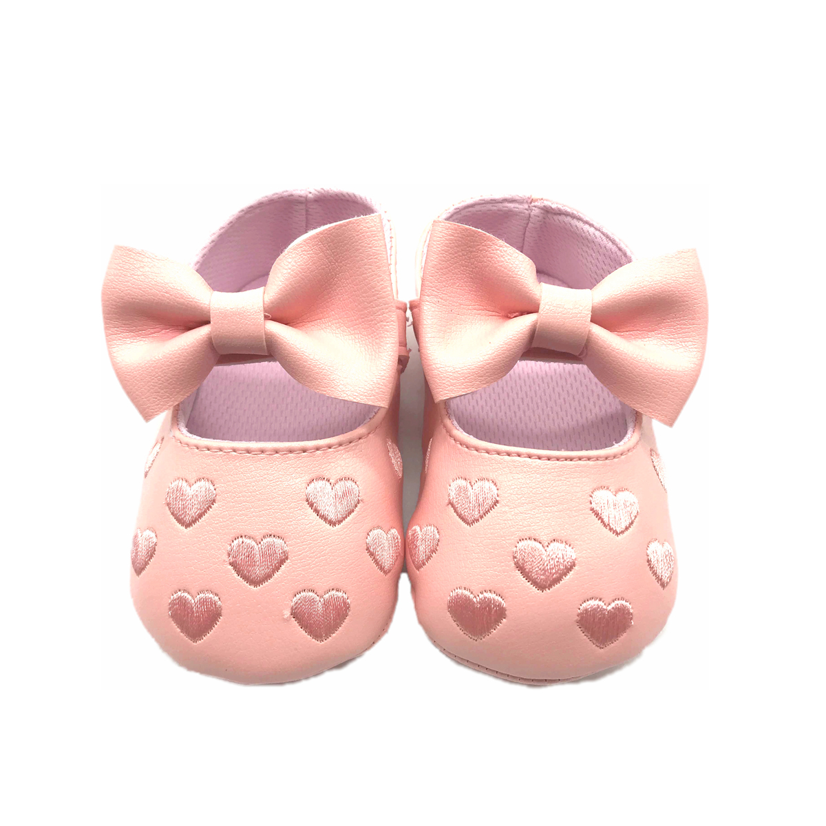 C2bb Chaussons Coeur Et Noeud Ange Rose Fille Rose Taille