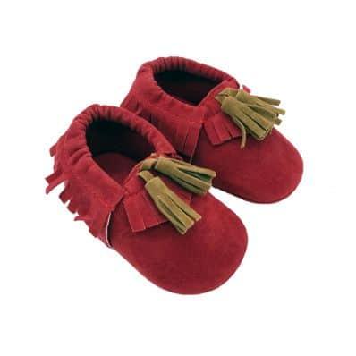 Mocassins tissu velours à franges RED C2BB - chaussons, chaussures, chaussettes pour bébé