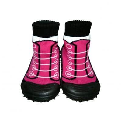 Calcetines con suela antideslizante para niñas | Zapatillas de deporte fushia