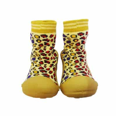Baby boys girls Socks shoes with grippy rubber | Leopard