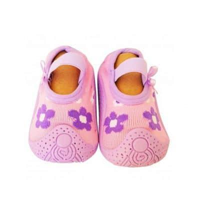 Scarpine calzini antiscivolo bambini - ragazza | Fiori viola rosa