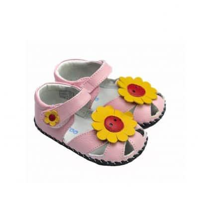 FREYCOO - Krabbelschuhe Babyschuhe Leder - Mädchen   Pink sandalen Sonnenblume