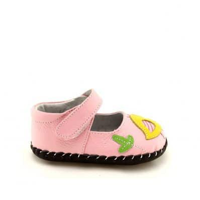 FREYCOO - Baby girls first steps soft leather shoes | Pink with bird babies