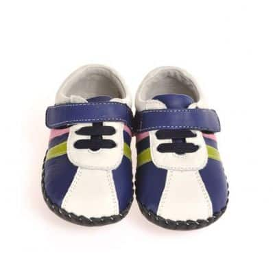 CAROCH - Baby boys first steps soft leather shoes | Blue sneakers