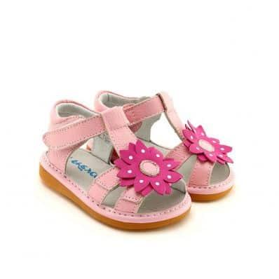 Chaussures semelle souple Sandales à grosse fleur rose