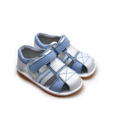 FREYCOO - Squeaky Leather Toddler boys Shoes | Blue and white sandals