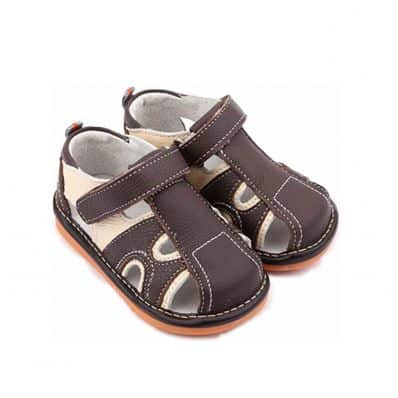 FREYCOO - Squeaky Leather Toddler boys Shoes | Brown and beige sandals