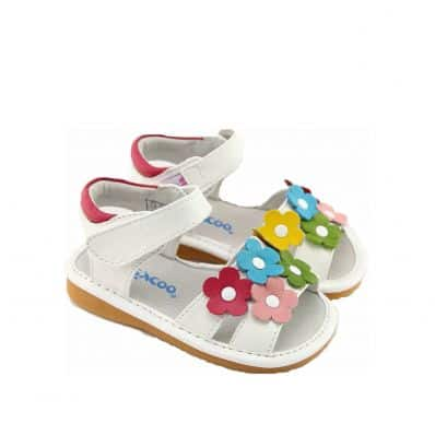 FREYCOO - Squeaky Leather Toddler Girls Shoes | White sandals with colored flowers