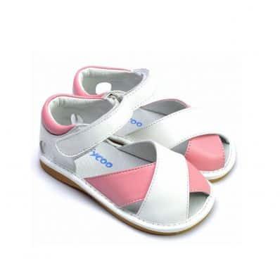 FREYCOO - Krabbelschuhe Babyschuhe squeaky Leder - Mädchen | Weiß und pink sandalen