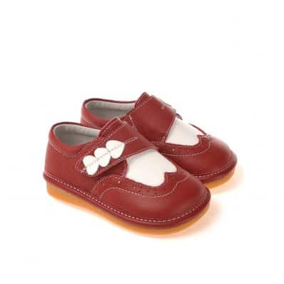 CAROCH - Krabbelschuhe Babyschuhe squeaky Leder - Mädchen   Rot babies 3 herzen