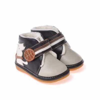CAROCH - Zapatos de cuero chirriantes - squeaky shoes niños | Forradas grises