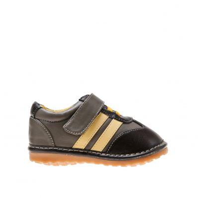 Little Blue Lamb - Zapatos de cuero chirriantes - squeaky shoes niños   Zapatillas de deporte grises vendas color amarillo