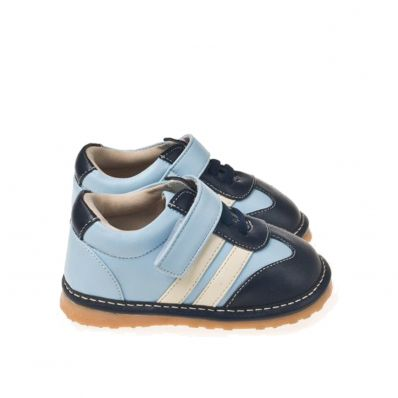 Little Blue Lamb - Zapatos de cuero chirriantes - squeaky shoes niños | Zapatilla de deporte azul