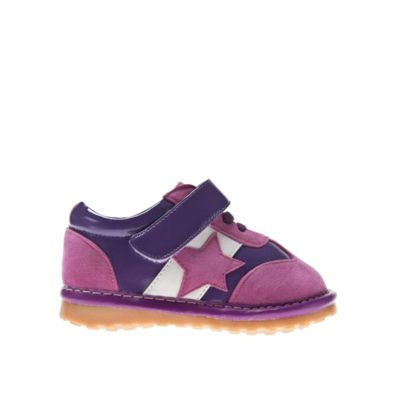 Little Blue Lamb - Squeaky Leather Toddler Girls Shoes | Pink and purple star sneakers