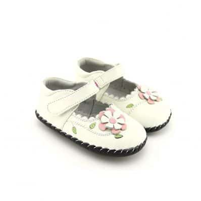 FREYCOO - Baby girls first steps soft leather shoes | White with white flower