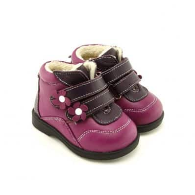 FREYCOO - Soft sole girls kids baby shoes | Purple filled booties