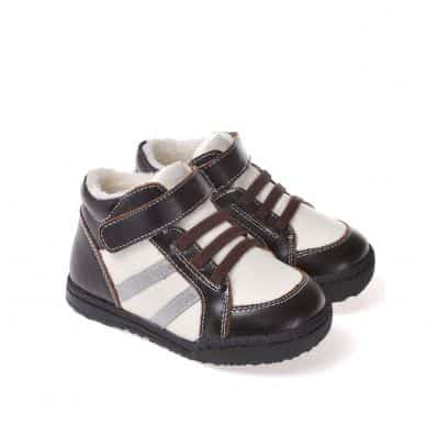 CAROCH - Soft sole boys Toddler kids baby shoes   Brown and white filled booties