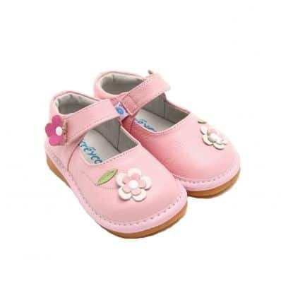 FREYCOO - Squeaky Leather Toddler Girls Shoes | Pink shoes with flowers
