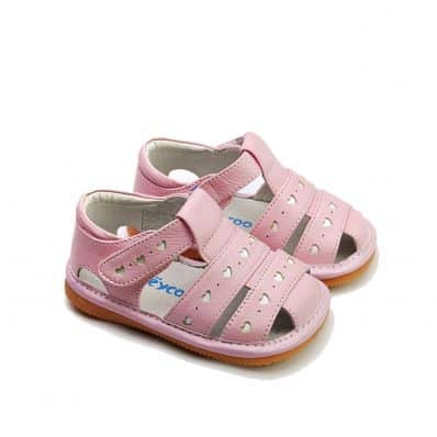 FREYCOO - Squeaky Leather Toddler Girls Shoes | Pink sandals with small hearts