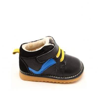 FREYCOO - Zapatos de cuero chirriantes - squeaky shoes niños | Zapatilla de deporte negras venda azul