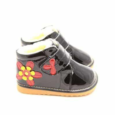 Chaussures semelle souple montantes avec fleur