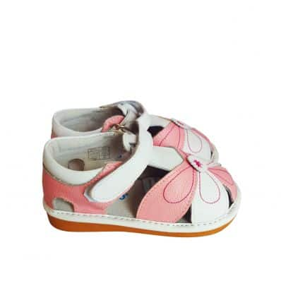 FREYCOO - Squeaky Leather Toddler Girls Shoes   Pink and white sandals
