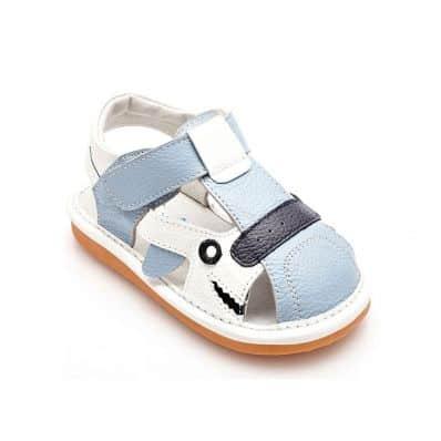 YXY - Krabbelschuhe Babyschuhe squeaky Leder - Jungen | Blau und weiß sandalen