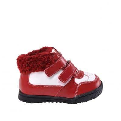 CAROCH - Zapatos de suela de goma blanda niñas   Montantes forradas rojo y blancas