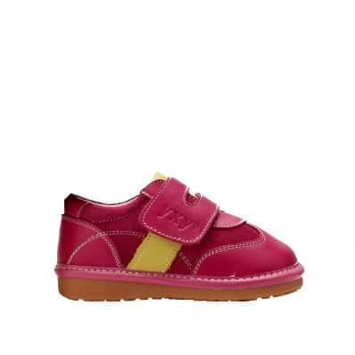 YXY - Krabbelschuhe Babyschuhe squeaky Leder - Mädchen | Gelben Streifen rosa Turnschuhe