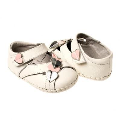 Little Blue Lamb - Chaussures premiers pas cuir souple | Sandales blanches coeur argenté