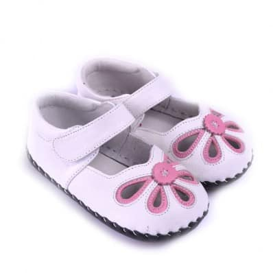CAROCH - Chaussures premiers pas cuir souple | Sandales blanches roses