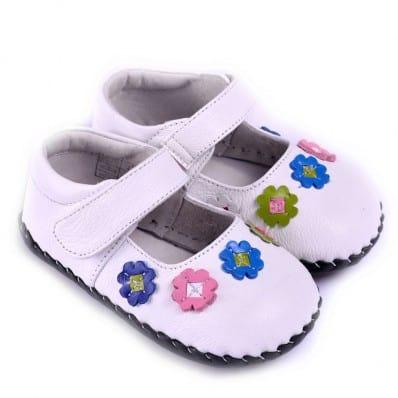 CAROCH - Chaussures premiers pas cuir souple | Babies blanches fleurs couleurs