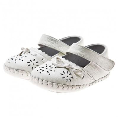 Little Blue Lamb - Zapatos de bebe primeros pasos de cuero niñas   Sandalias blancas ceremonia