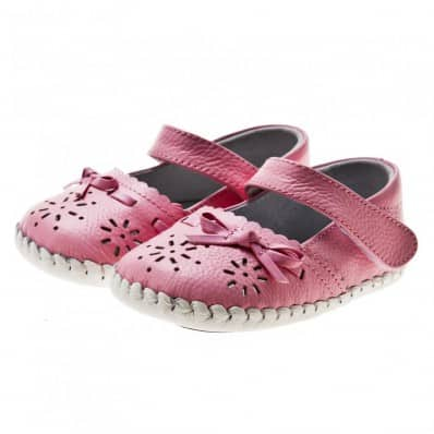Little Blue Lamb- Baby girls first steps soft leather shoes | Pink sandals ceremony