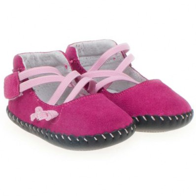 Little Blue Lamb - Baby girls first steps soft leather shoes | Pink ballet
