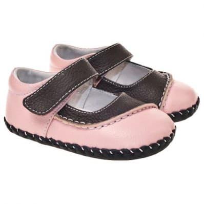 Little Blue Lamb - Chaussures premiers pas cuir souple | Bicolore rose marron