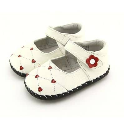 FREYCOO - Zapatos de bebe primeros pasos de cuero niñas | Babies rosa corazón rosa