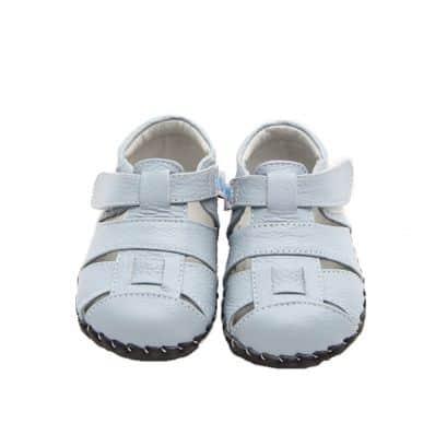 FREYCOO - Zapatos de bebe primeros pasos de cuero niños   Sandalias cerradas azules y blancas