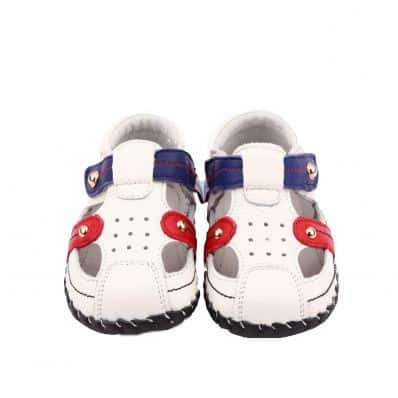 FREYCOO - Baby boys first steps soft leather shoes | White blue sandals