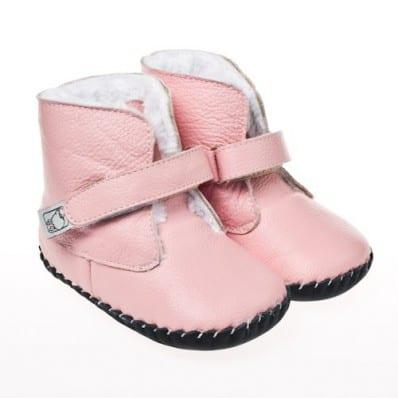 Little Blue Lamb - Chaussures premiers pas cuir souple | Bottines roses