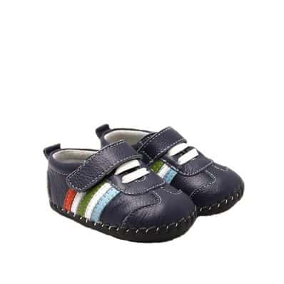 Chaussures premiers pas cuir souple baskets BANDES MULTICOLORES