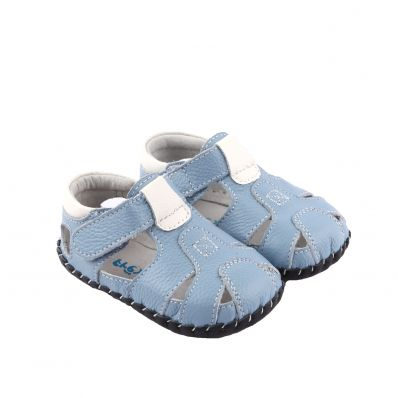 FREYCOO - Krabbelschuhe Babyschuhe Leder - Jungen | Marineblau Sandalen