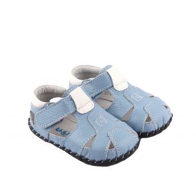 FREYCOO - Scarpine primi passi bimba in morbida pelle   Marina sandali blu