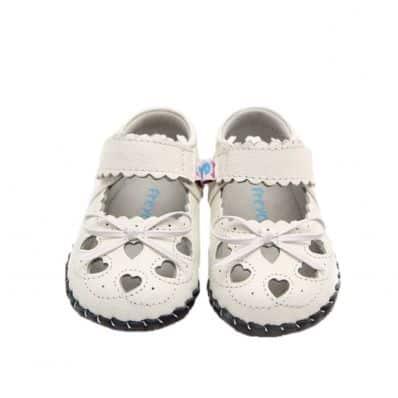 Chaussures premiers pas cuir souple | Sandales blanches noeud