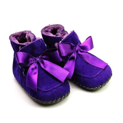 FREYCOO - Baby girls first steps soft leather shoes | Purple filled bootees