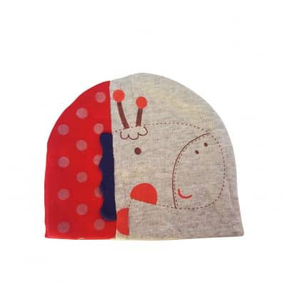 C2BB - Baby hat giraffe - one size | Grey and red