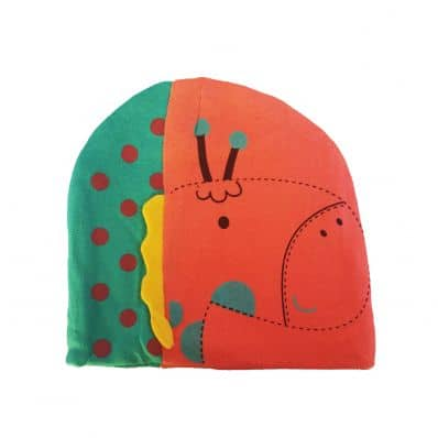 C2BB - Baby hat giraffe - one size | Salmon and green