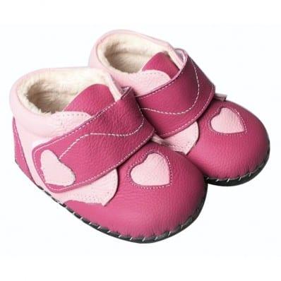 FREYCOO - Chaussures premiers pas cuir souple   Montantes fushia coeur rose